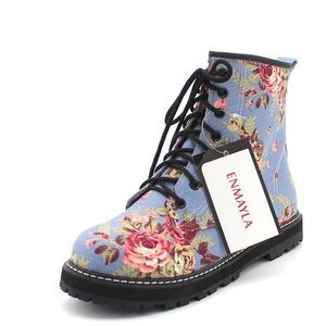 Blue Combat boots with Floral Design
